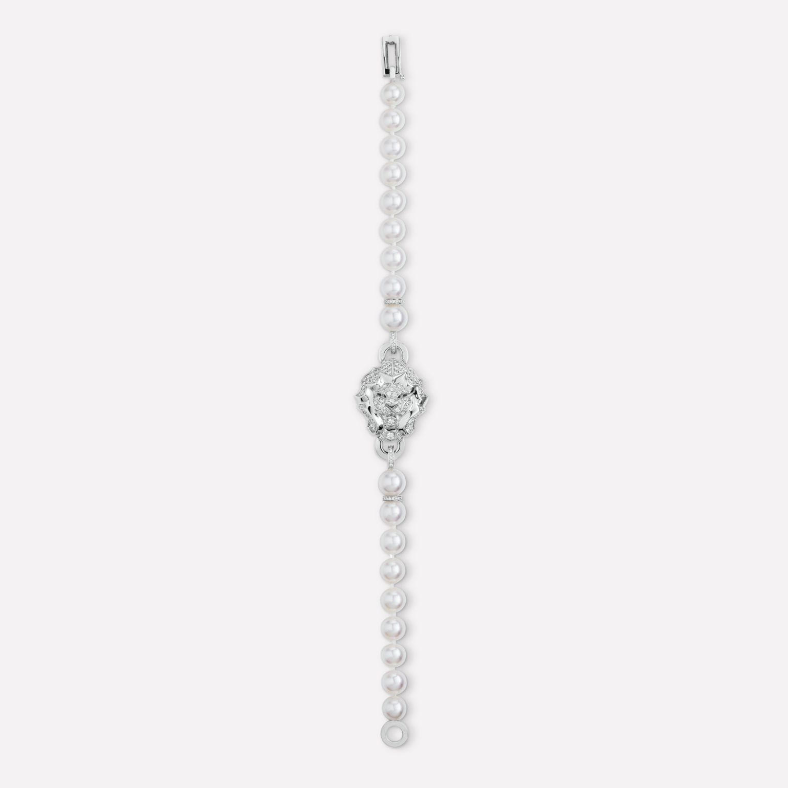 Sous le Signe du Lion Bracelet Lion bracelet in 18K white gold, diamonds and cultured pearls