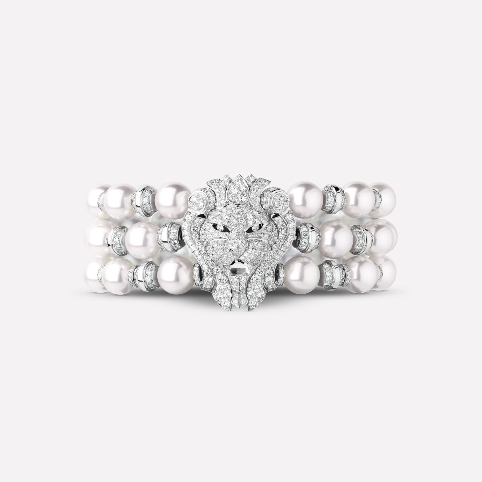 Sous le Signe du Lion bracelet Lion three-row bracelet, in 18K white gold, diamonds and one cultured pearl