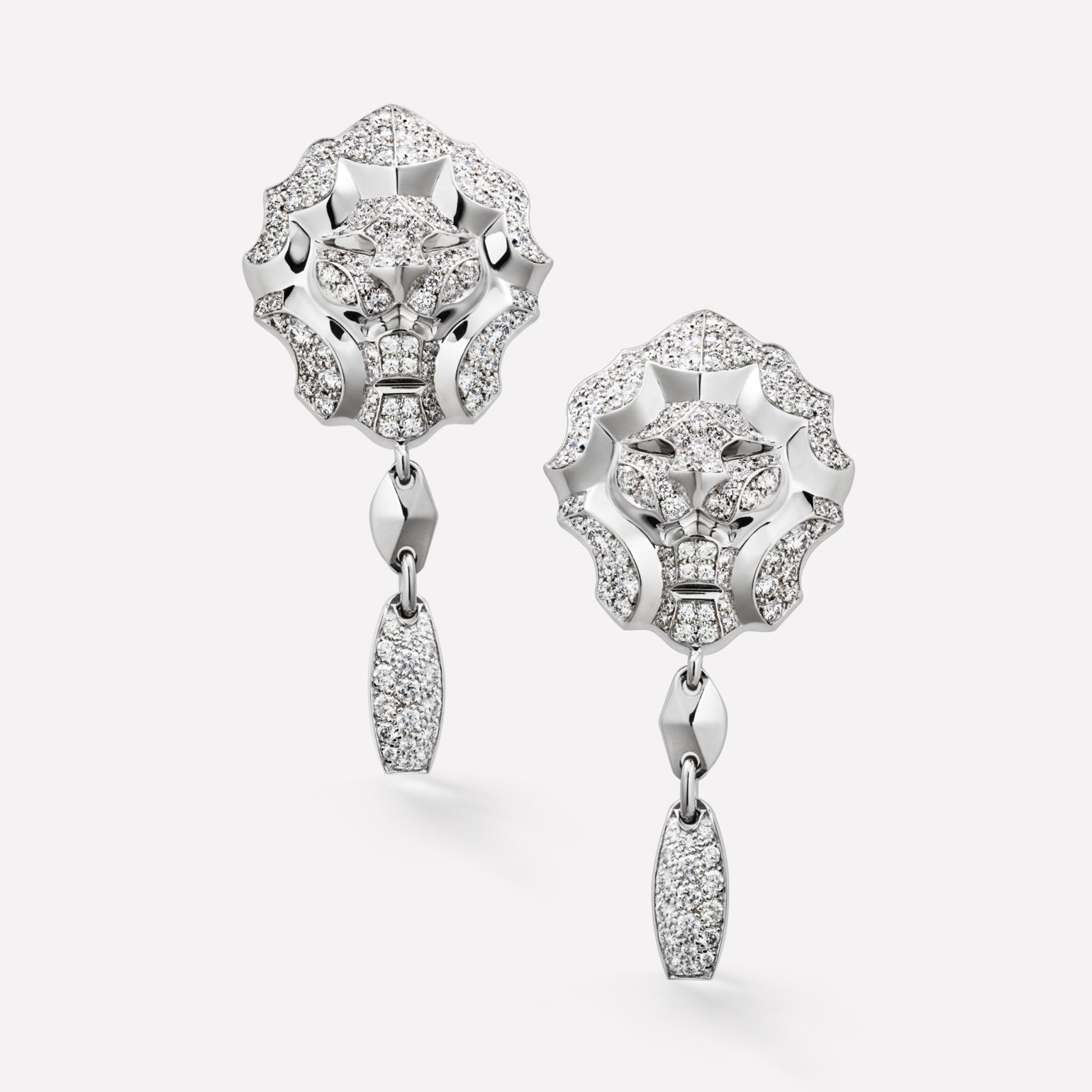 Sous le Signe du Lion Earrings Lion earrings in 18K white gold and diamonds