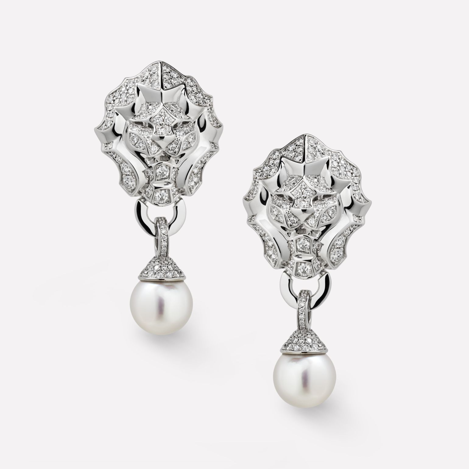 Sous le Signe du Lion earrings Lion earrings in 18K white gold, diamonds and cultured pearls