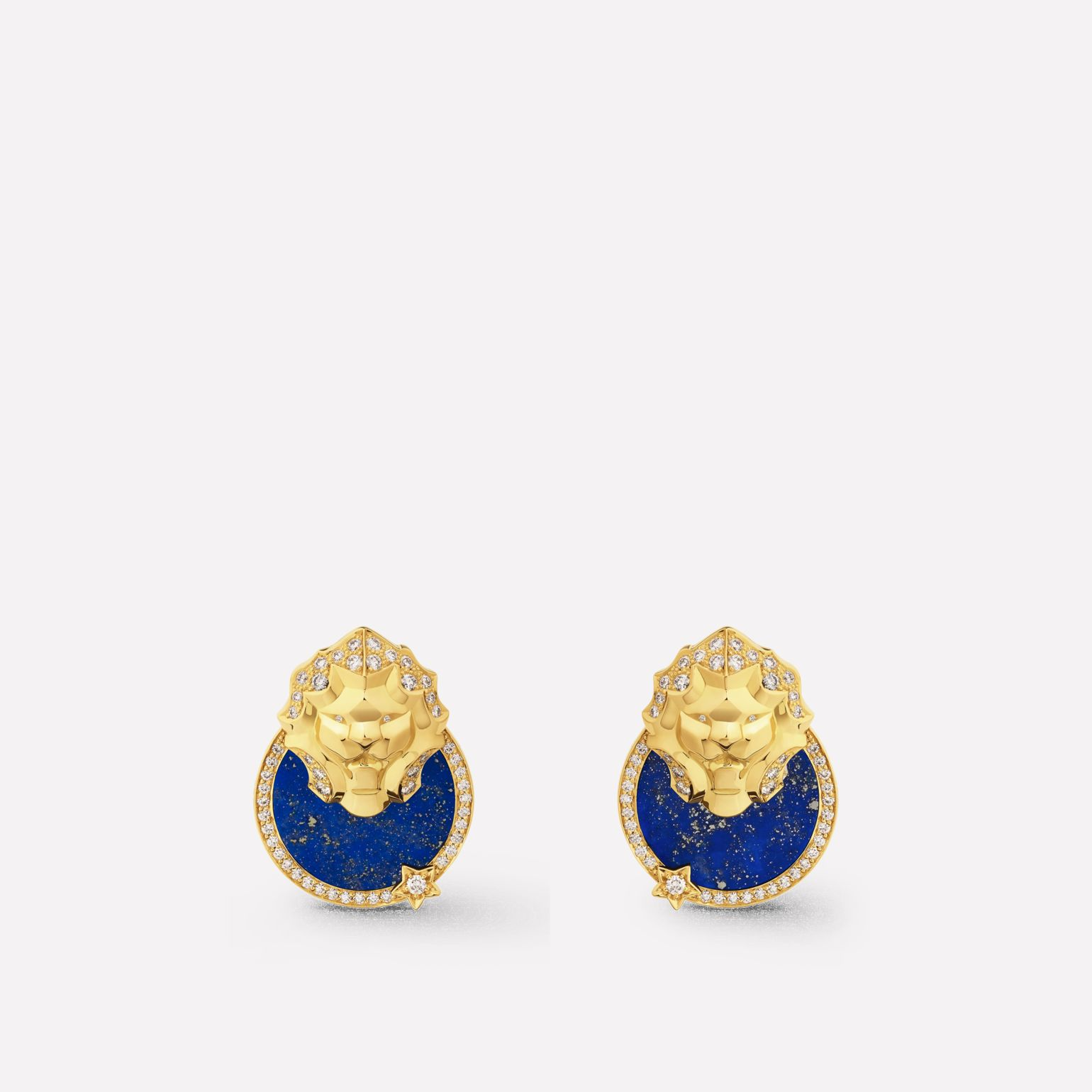 Sous le Signe du Lion earrings Lion Médaille earrings in 18K  yellow gold, diamonds and lapis lazuli