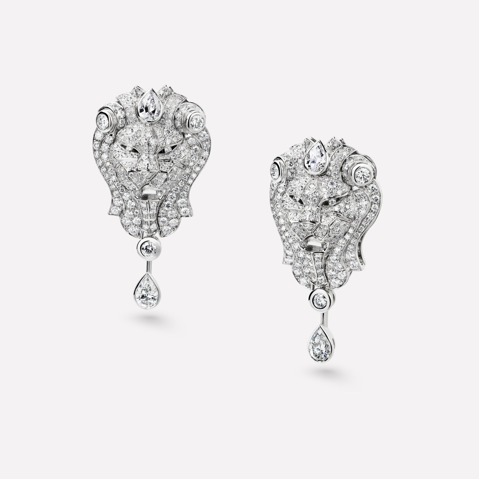 Sous le Signe du Lion earrings Lion earrings in 18K white gold and diamonds with center diamonds