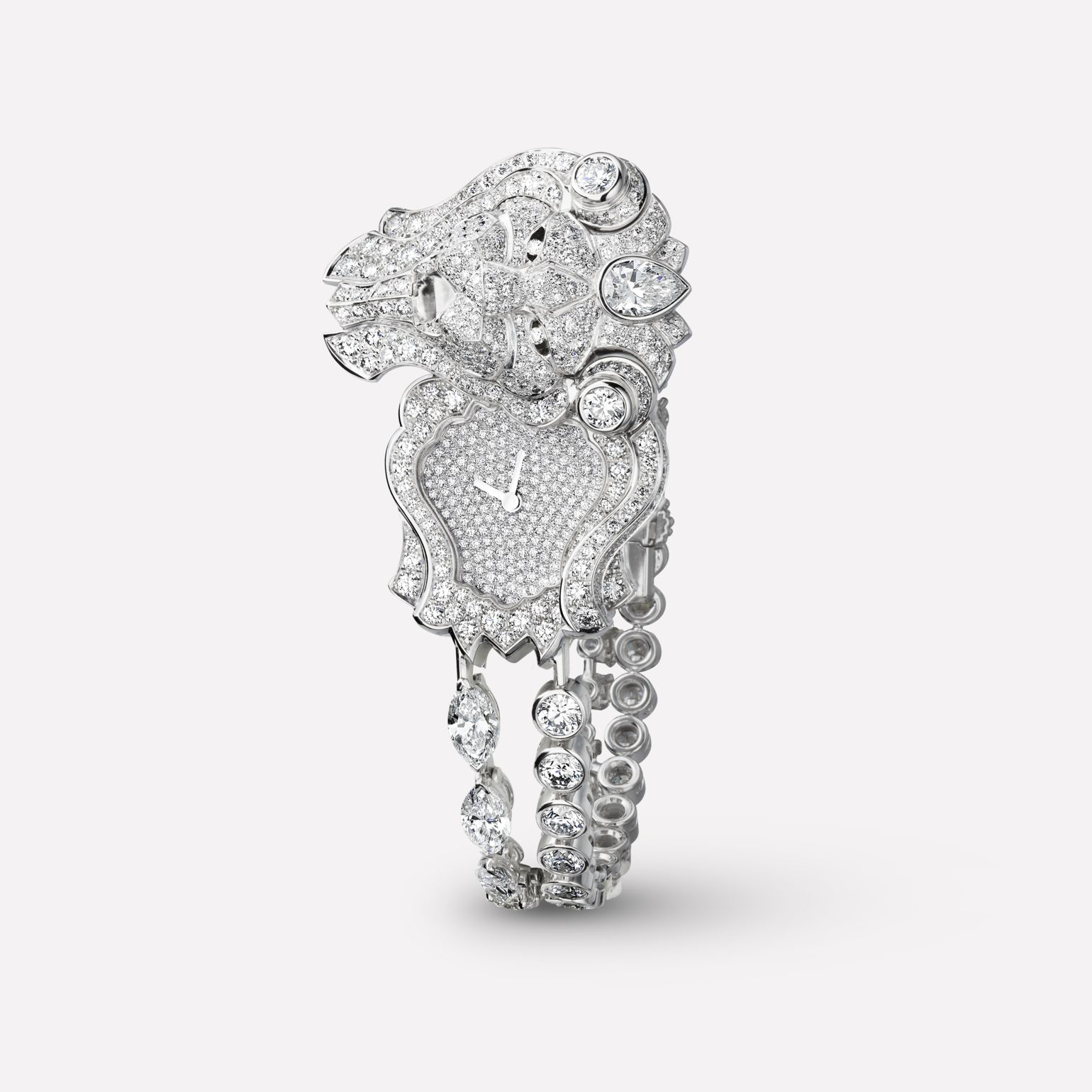 Sous le Signe du Lion Jewelry Watch Secret watch with lion motif in 18K white gold, and diamonds with diamond bracelet
