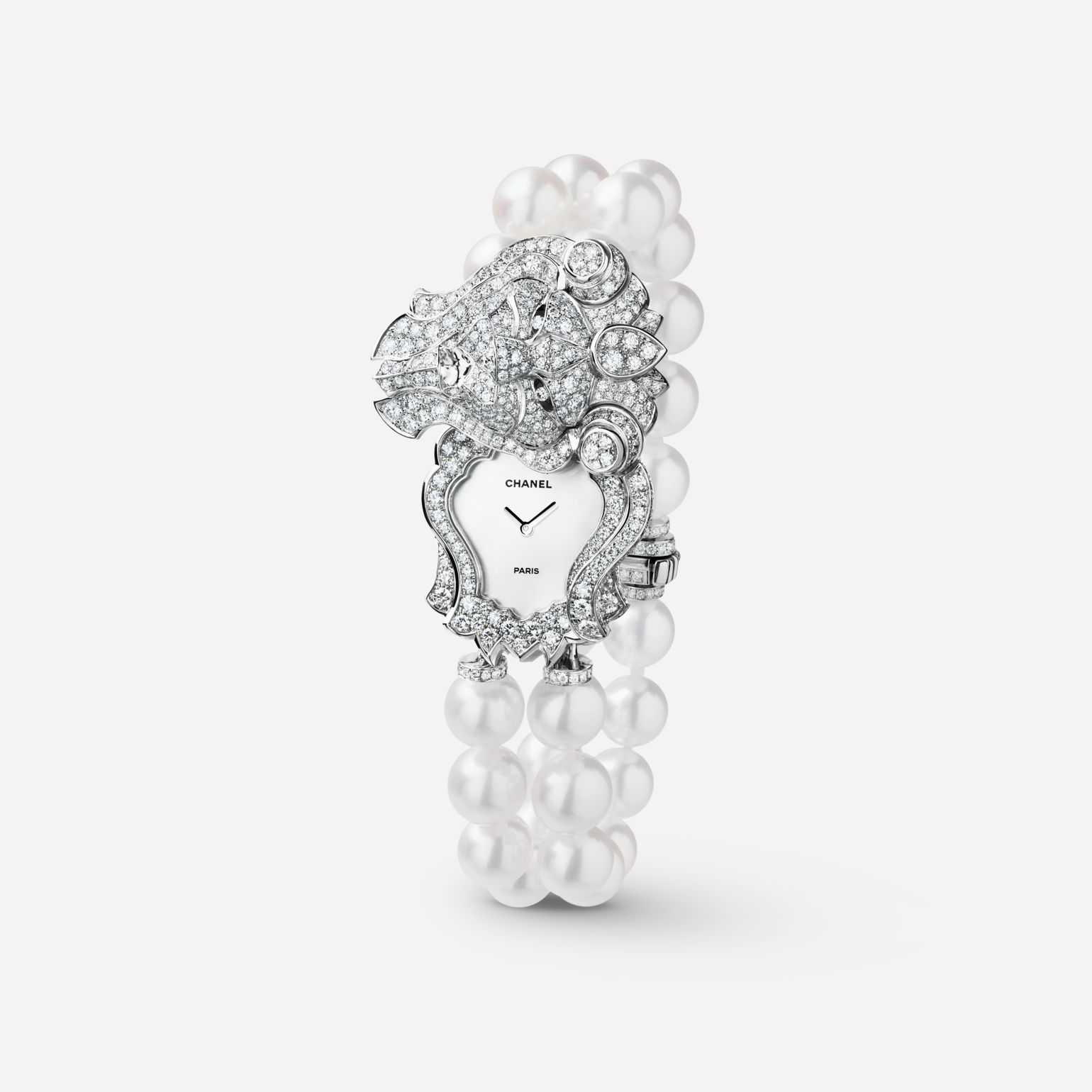 Sous le Signe du Lion Jewelry Watch Secret watch with lion motif in 18K white gold, diamonds, and cultured pearls