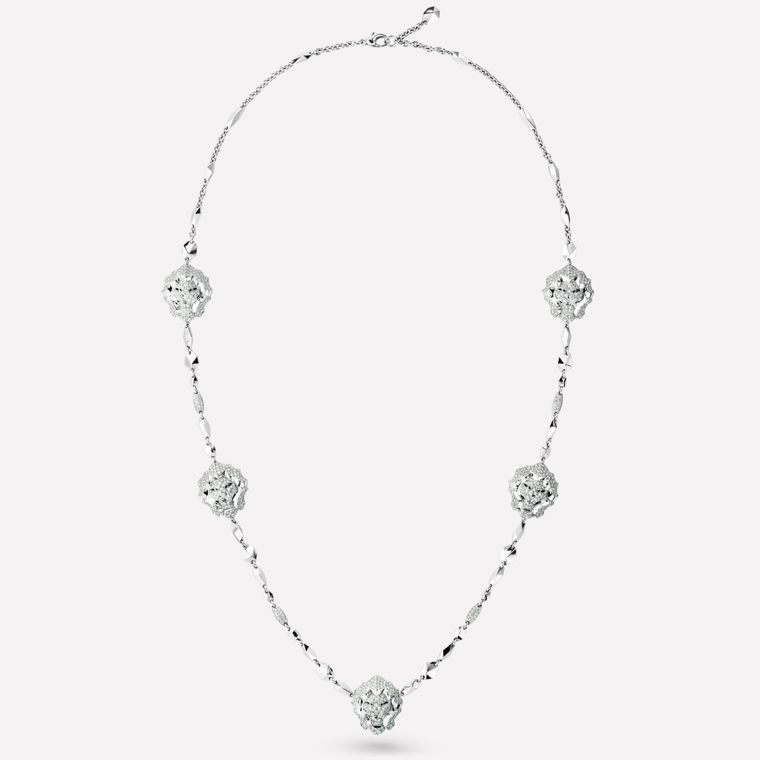 Sous le Signe du Lion Necklace Lion sautoir in 18K white gold and diamonds
