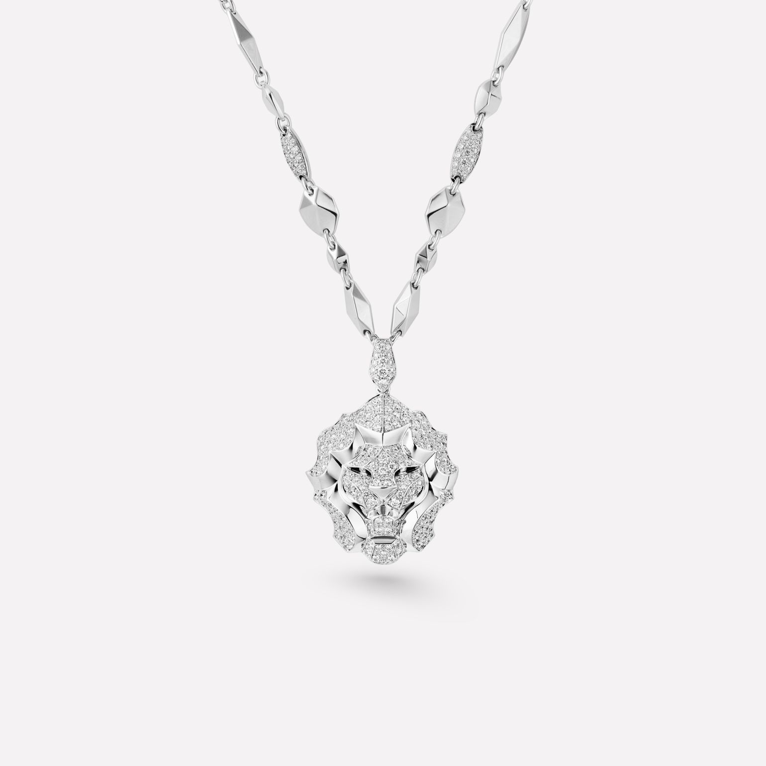 Sous le Signe du Lion Necklace Lion necklace in 18K white gold and diamonds. Large version.