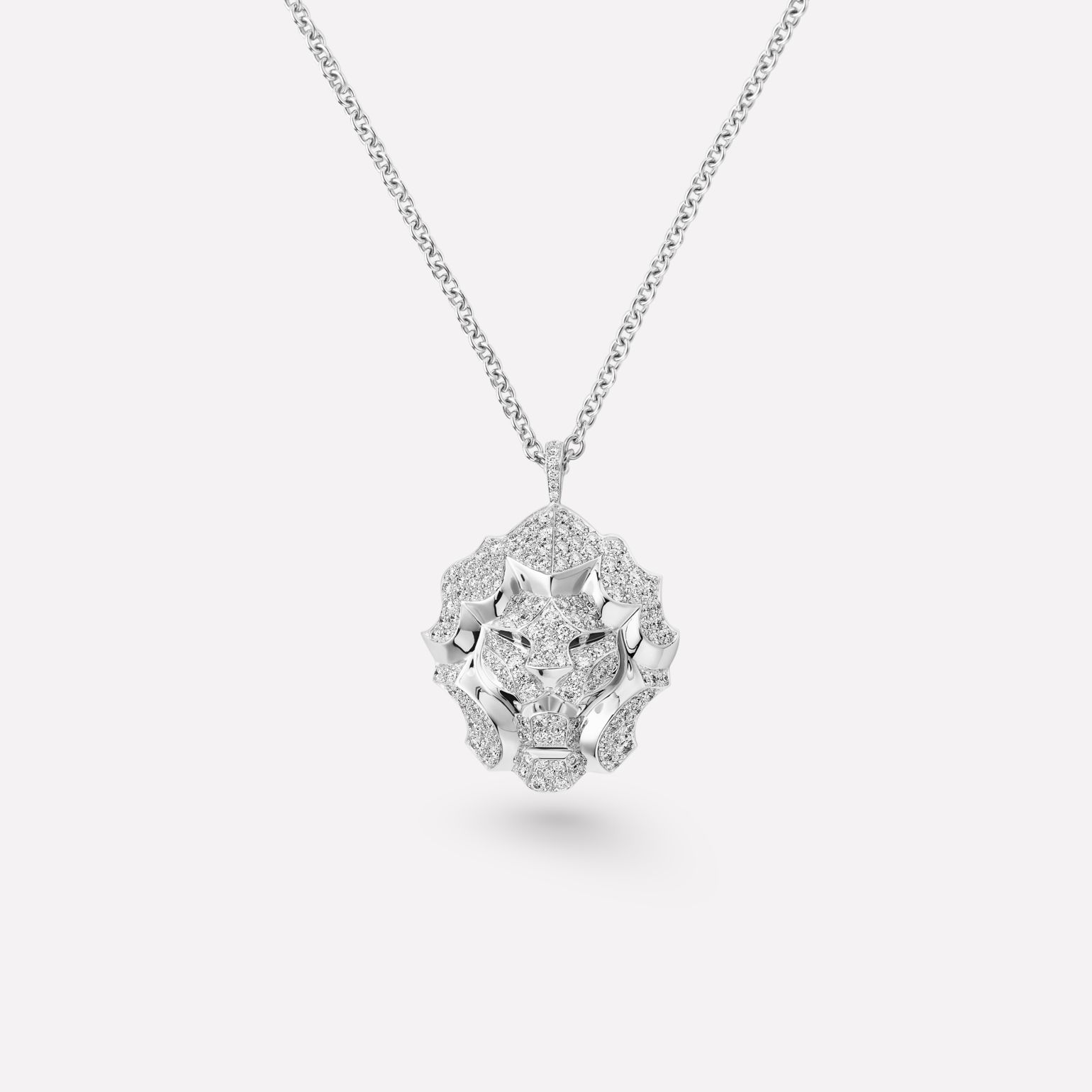 Sous le Signe du Lion necklace 18K white gold, diamonds