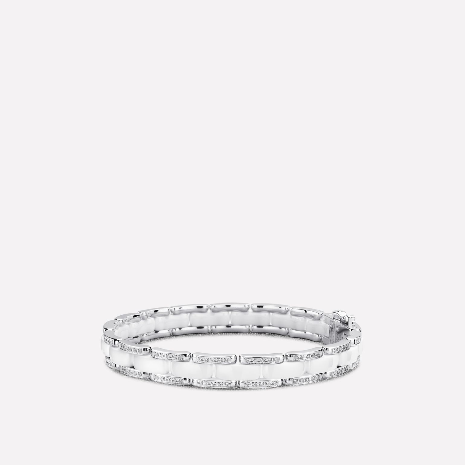 Ultra Bracelet Ultra bracelet in white ceramic, 18K white gold and diamonds. Flexible version.