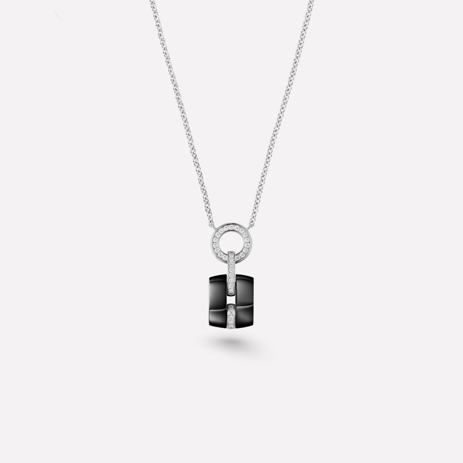 Ultra Necklace Ultra necklace in black ceramic, 18K white gold and diamonds