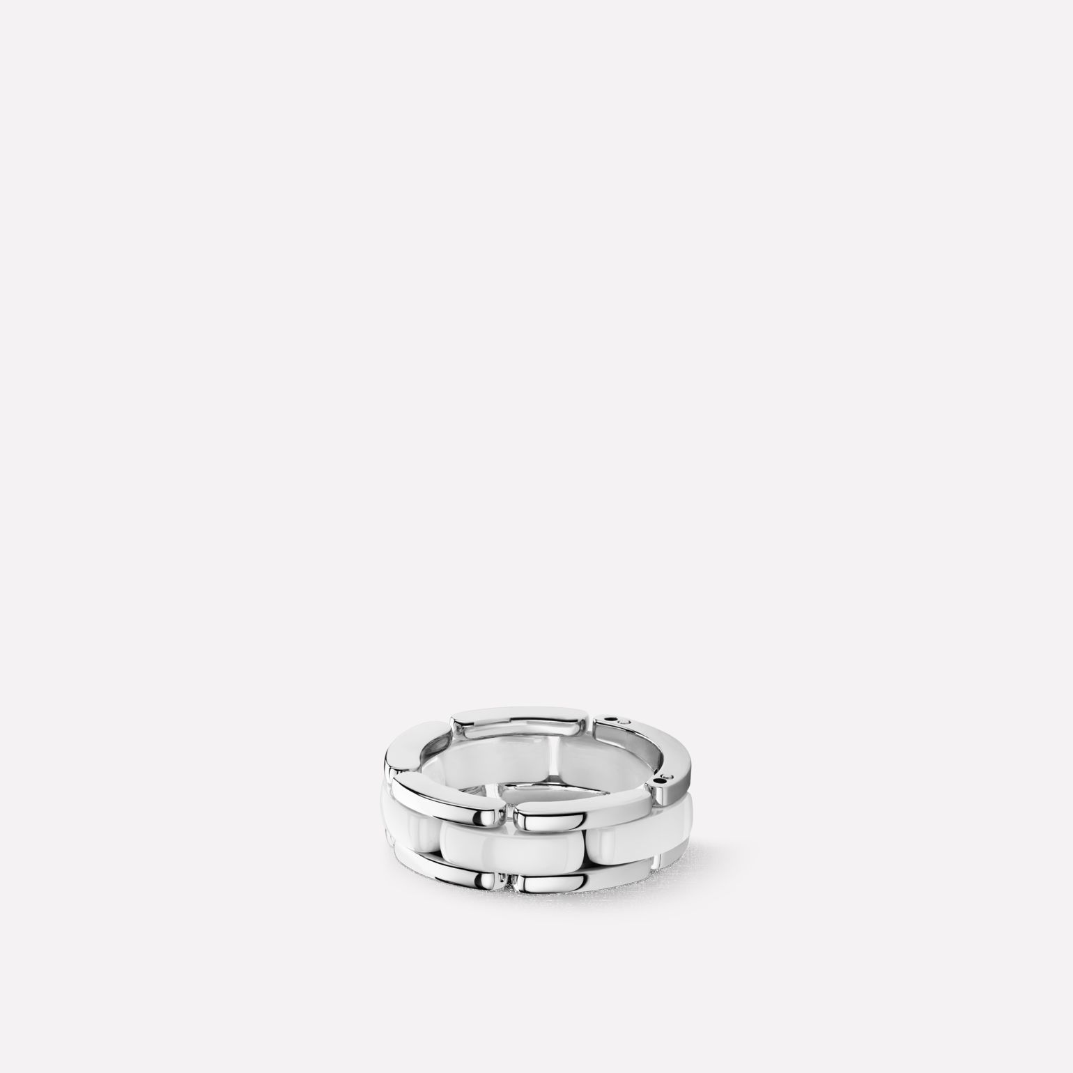 Ultra ring Medium version, 18K white gold, white ceramic